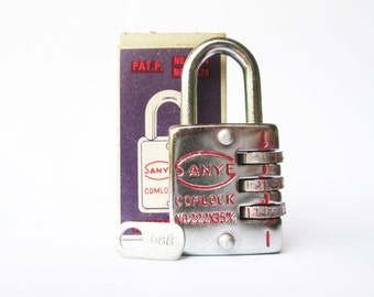 Vintage mini padlock miniature lock with code, keyless
