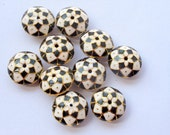 10 Meenakari, enamel work disc beads, small, black, white and gold combo, Indian beads, cloissone, 14mm in size