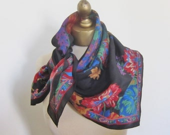 SILK scarf SQUARE floral BLACK ground glowing colors, vibrant vintage 80s