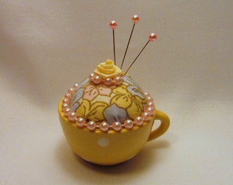 Itsy-Bitsy Yellow Polka-dotted Teacup Pin Cushion