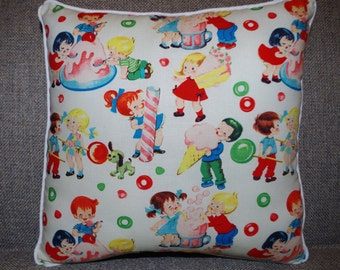 "Retro Pillow with Soda Shop Print - ""Retro Sweet Shop Pillow"""
