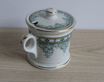 Antique Jam Jelly Jar With Lid / Anchor Pottery / 1900 Edwardian / Semi Porcelain / Teal Flowers Floral