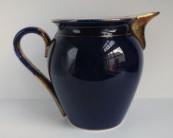 Antique Waechtersbach Pitcher / German Flow Blue / Cobalt Blue / Ceramic / Gold / Earthenware / 19th Century