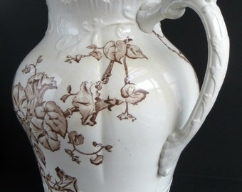 Impressive Ironstone / Victorian Antique / Brown Transferware / Morning Glory Flowers / 11 Inches Tall