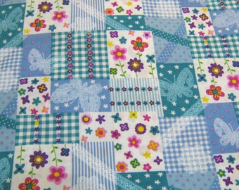 Butterflies and Flowers Cotton Fabric,Cotton Fabric,Butterfly Fabric, Fabric By The Yard