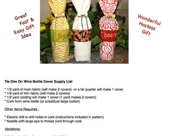 "Bottle Bag Pattern - ""Put A Cork In It"" Wine Bottle Cover Pattern"