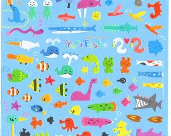 Kawaii Japan sticker Sheet Assort: Novelty Yuru Fish Mini Stickers Ocean Sea Life Crabs Octopus Diy Decoration Schedule Book Planner R
