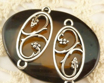 Silver Flower Connector Garden Hoop Earring Finding Pendant, Antique Silver (8) - S169
