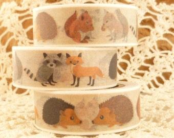 Forest Animals, Raccoon, Hedgehog, Fox, Squirrel  Washi Tape - Q1703