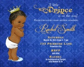 African American Baby Shower Invitation Boy Printable  - Royal Blue and Gold Royal Baby Shower Invite - Blue Baby Boy Invitation