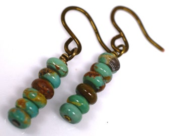 Genuine Turquoise Rondelle Stacked Earrings, Dangles, Wire Wrapped in Vintage Bronze, Handmade Hammered French Hooks