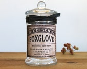 Poison Apothecary Bottle Old Fashioned Steampunk Goth Creepy Halloween Foxglove