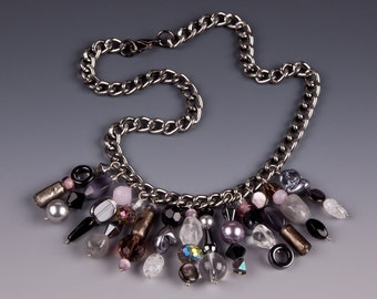 Black and Gray Gunmetal Shorty Necklace