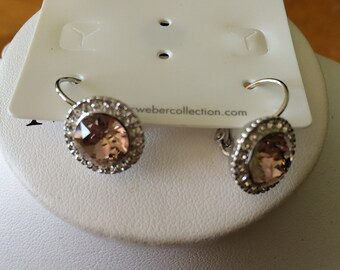 Art Deco Pink Swarovski crystal drop earrings