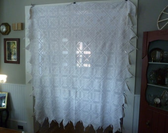Antique Crochet Bed Cover / Bed Spread, Handmade Ivory Color Crochet Textile