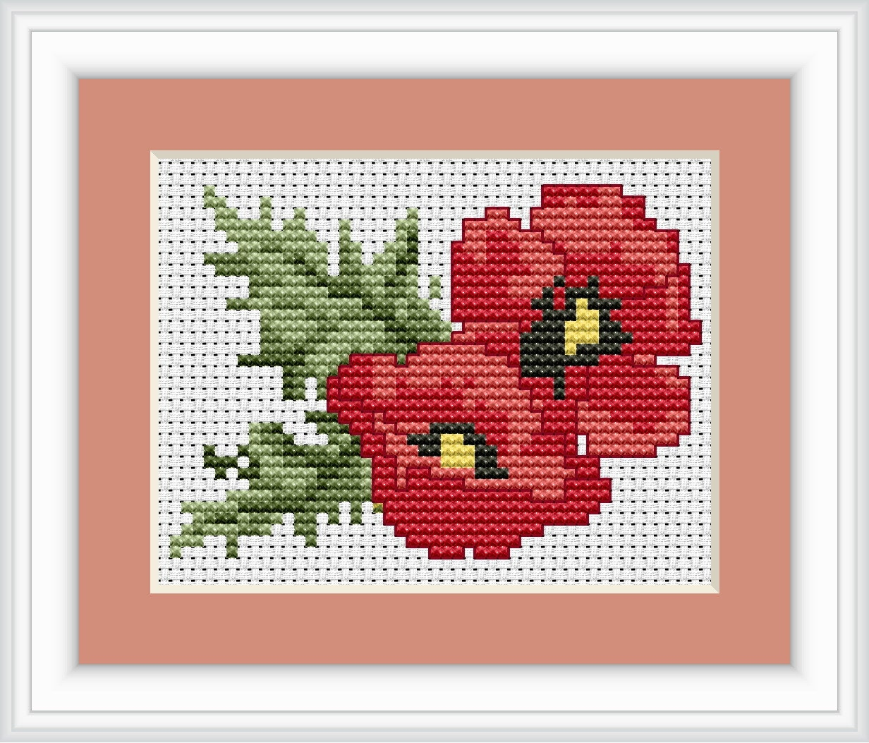 Red poppies cross stitch kit by luca s ideal beginner cm