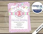 Bunny Birthday Invitation, Some Bunny Invitation, 1st Birthday Invitation - Turning One Chevron Stripe Birthday Party Printable, 3 Designs