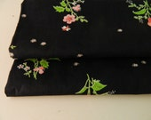 1940s 50s Pretty Floral Cotton Fabric- 2 1/2 yds