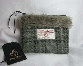 Grey Harris Tweed purse / multi purpose bag with Faux fur trim