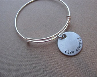 "SALE- Hand-Stamped Bangle Bracelet- ""live simply""- ONLY 1 Available"