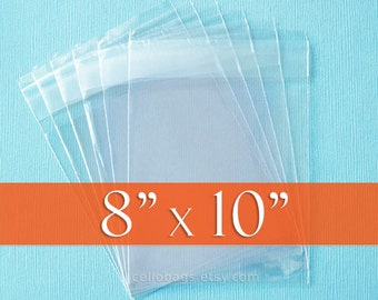 "200 8 x 10"" Inch  Resealable Cello Bags, Acid Free Crystal Clear Photo Packaging"