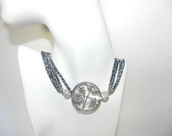 Hematite & Marcasite Sterling Silver Convertible Necklace  Wear Long, Choker, Single or Broach