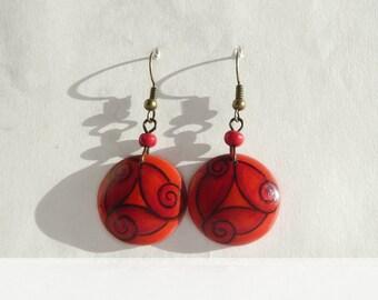 Red Earrring, Wood Art Earrings Celtic Spiral Red Earrings, Hand Painted Earring, Dangle Earrings Celtic Jewelry, Painted by Artdora