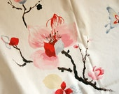 Red Floral Cotton Fabric, Ivory Cream Cotton With Chinese Painting Plum Blossom Flower Butterfly For Clothing Quilting- 1/2 yard