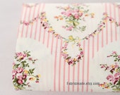 One yard - Floral Fabric, Pink Flower Bouquet Stripes On White Cotton For Kimono Clothes