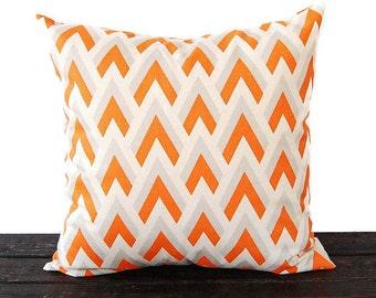 Chevron pillow cover One cushion covers orange gray natural throw pillow covers modern decor pillow sham