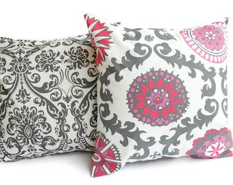 """Throw pillow covers set of two 18"""" x 18"""" Rasperry pink red gray white cushion covers"""