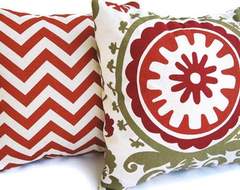 """Pillow covers set of two 20"""" x 20"""" Rust, Olive, and Natural Pillow covers Chevron and Suzani Autumn pillows Thanksgiving pillows"""