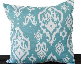 Throw pillow cover cushion cover light teal blue white pillow case ikat Raji Spirit Blue