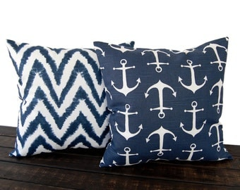 Throw pillow covers Pair of Two Premier navy blue cushion cover pillow shams nautical decor