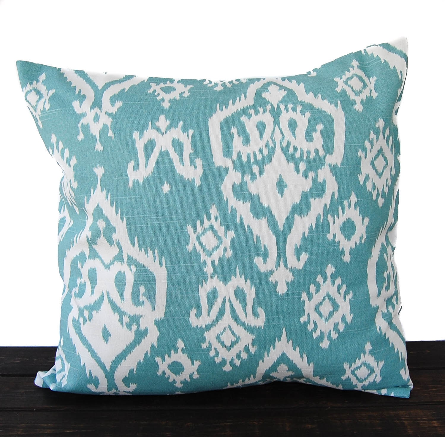 Throw Pillow Cover Cushion Cover Light Teal Blue White Pillow