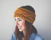Cable Knit Headband //  Ear Warmer // Cozy Slip-on Accessory // Mustard // Butterscotch // Pinterest Favorite // Fashion