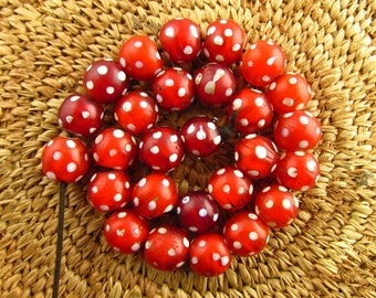 Antique Red Skunk Glass Beads