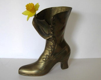 "SALE, Large Solid Brass Victorian Ladies Boot, vintage collectible, 9"" tall,  Home decor, Mid Century Vase, Bookend, gift idea"