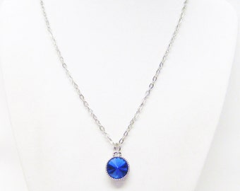 12mm Blue Faceted Crystal Drop Charm Necklace