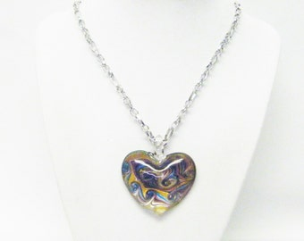 Beautiful Mulch-colored Fused Glass Lamp Work Heart Pendant Necklace