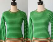 1970s Green White Stripe Body Hugging Sweater . 70s Retro Acrylic Knit Pullover Hippie Fire Islander Sweater . Size Small