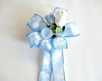 Baby boy shower bow with rattle/ Baby boy gift bow/ New baby bow for decorating/ Blue baby bow/ Gift for new moms/ Its a Boy gift bow (BB25)