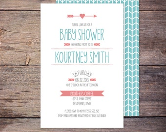 Modern Baby Shower Invitation Pink and Blue Gender Neutral Girl or Boy Shower Invite DIY Printable Digital File KOURTNEY
