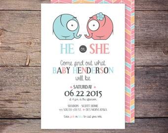 Printable GENDER REVEAL Invitation, Gender Reveal Party Invitation, Invite, digital file, print at home, gender reveal party