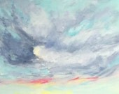 """Original impressionist Skyscape, Cloud and landscape acrylic painting """"The Wave"""",  20"""" x 24"""" on canvas."""