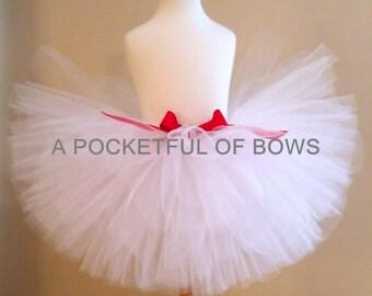 White Tutu Skirt, Flower Girl Tutu Skirt, Your Choice Bow Color