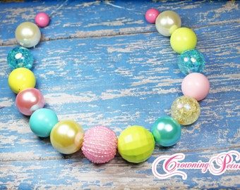Pink, Aqua, Lime Green Necklace, Chunky Bubblegum Bead Necklace, Turquoise, Yellow Bubble Gum Bead Jewelry, Baby Necklace, Easter Necklace