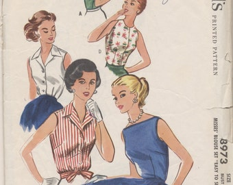 Vintage 1956 McCall's Pattern 3973 Misses Tops Blouses Bust 34