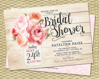 Bridal Shower Invitation Mason Jar Floral Pink Peonies Rustic Bridal Shower Invite Pink Peach ANY EVENT