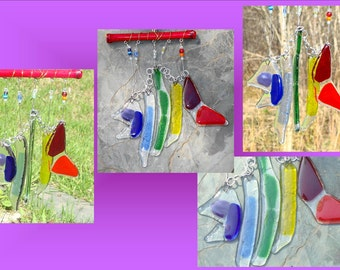 Rainbow Fish Wind Chime Lgbt Garden Decor Stained Glass Bamboo Mobile Window Suncatcher Patio Art